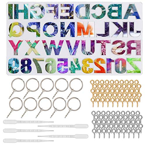 falllea 116 Pcs Silicone Resin Moulds, Alphabet Resin Keychain Molds Silicone Letter Resin Jewelry Molds Including Manual Hand Drill Keychain DIY Sugar Cake Craft Casting Mould