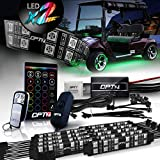 OPT7 Aura Golf Cart Underglow LED Lighting Strips Kit, Neon Golf Car Underbody Accessories, RGB Multi-Color Mode Accent Lights kit with Wireless Remote and Key Chain, w/Switch, 10pc, 12V, Double Row