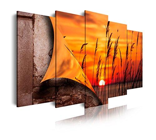 DekoArte 409 - Cuadros Modernos Impresión de Imagen Artística Digitalizada | Lienzo Decorativo Para Tu Salón o Dormitorio | Estilo Paisajes Abriendose con Puesta de Sol en un Lago | 5 Piezas 150x80cm
