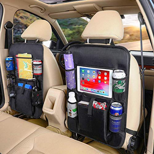 Car Seat Organizer, Car Backseat Organizer With Touch Screen Tablet Holder Storage Pockets Kick Mats Car Seat Back Protectors Great Travel Accessories for Kids and Toddlers (2 Pack)