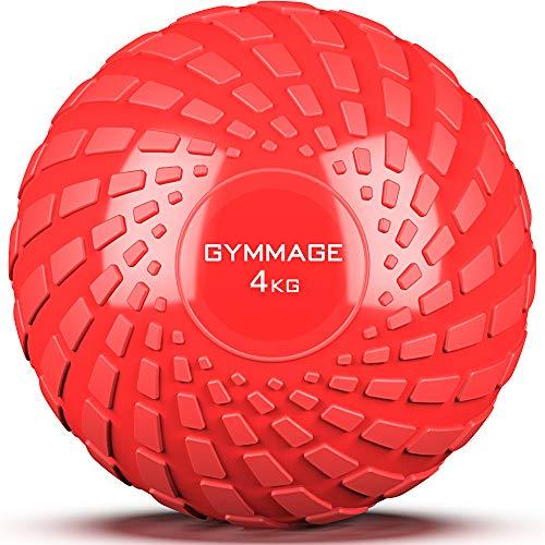 GYMMAGE メディシンボール 4kg 筋力トレーニング スラムボール エクササイズ (レッド)