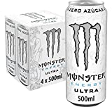 MONSTER ENERGY Ultra White – Bebida energética sin azúcar - Pack 4 latas 500 ml