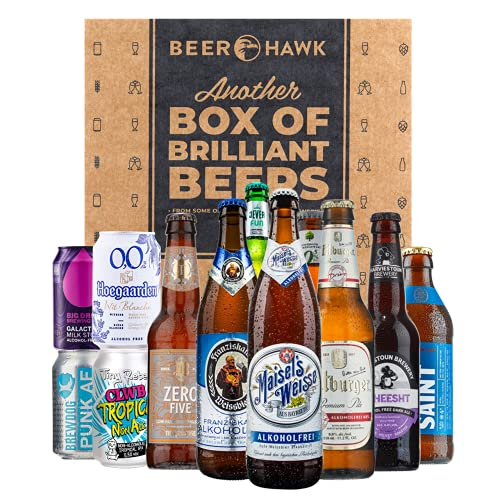 BEER HAWK Alcohol Free Mixed Case of 12 Craft Beers, 12 x 330ml