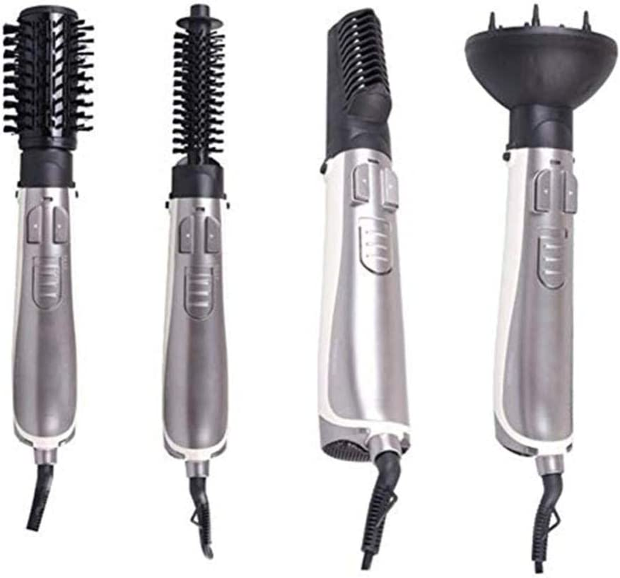 Hair Dryer 30s Speed Hot 4 In 1 Interchangeable Head Multi-function Hot Air Comb Brush Straight Hair Curler Dryer for Home Travel-Silver Silver 0kCKI