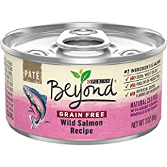 Twelve (12) 3 oz. Can - Purina Beyond Grain Free Pate Wild Salmon Recipe Adult Wet Cat Food Packaging may vary Real salmon is the #1 ingredient Wholesome vegetable accents round out this recipe Grain free to meet your ingredient standards