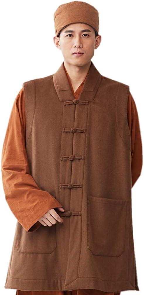 ZanYing Men's Medieval Monk Wool Buddhist Meditation Casual Vest Winter