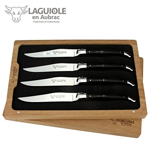 Laguiole en Aubrac - 4er Set Steakmesser Frankreich - Griff Ebenholz - Backen und Klinge glänzend - edle französische Tafelmesser