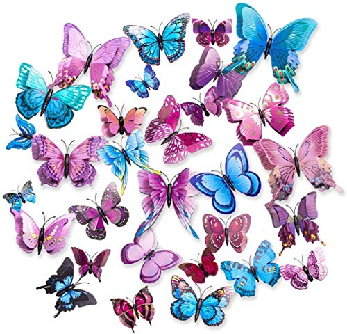 CCUCKY Butterfly Wall Stickers, Double Layers 3D Wings Butterflies, Ideal for Kids Room, Kitchen, Fridge, Party Decoration-Pink/Blue/Purple (36 Pieces)