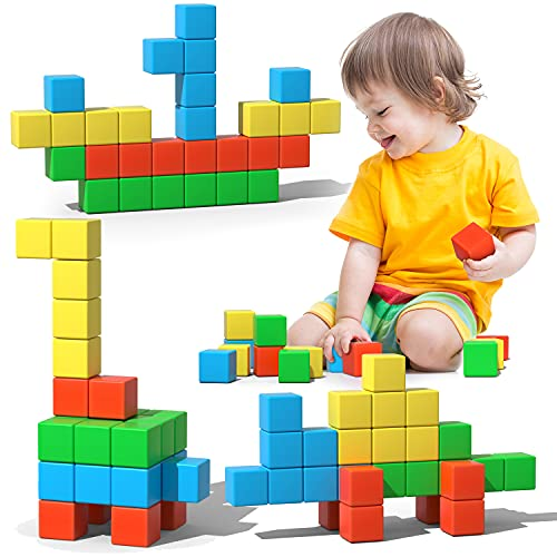Magnetic Blocks, 28 Pieces 1.34 inch Large Magnetic Building Blocks, 3D Magnetic Cubes for kids, Preschool Educational Construction Kit, Sensory Montessori Toys kids blocks for Boys Girls Toddlers