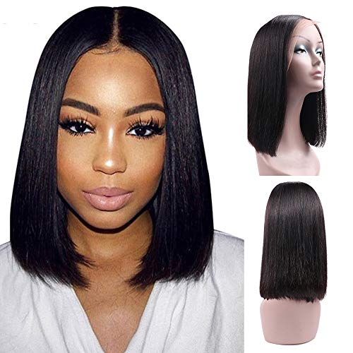 Ucrown Hair 13x4 Lace Front Short Bob Wigs Brazilian Straight Human Hair Wigs For Black Women 150% Density Pre Plucked with Baby Hair Natural Black (14inch)