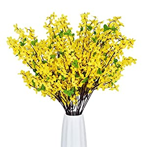 Shiny Flower Artificial Orchids Flowers, 4 Pcs Silk Fake Orchids Flowers Orquideas Flowers Real Touch Flower Bouquets for Indoor Outdoor Decoration Wedding Arrangement Office Party Home (Yellow)