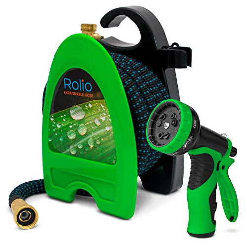 Rolio Expandable Garden Hose with Nozzle  Retractable 50 Feet Water Garden Hose with 9 Function Spray Nozzle Included 3/4quot Solid Brass Fittings No Kinks 50FT Black