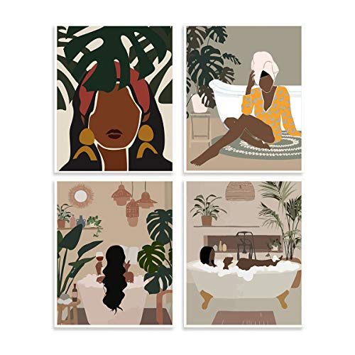 "Minimalist African American Women Art Painting Fashion Modern Boho Themed Bathroom Wall Decor Art Prints Canvas Poster Dressing Room, Set of 4 (8""X10"", No Frame )"