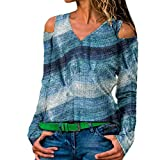 ReooLy T-Shirt à Manches Longues et à Manches Longues pour Femmes, Femmes Plus Size Manches Longues Imprimer col en V Pull bretTops Chemise