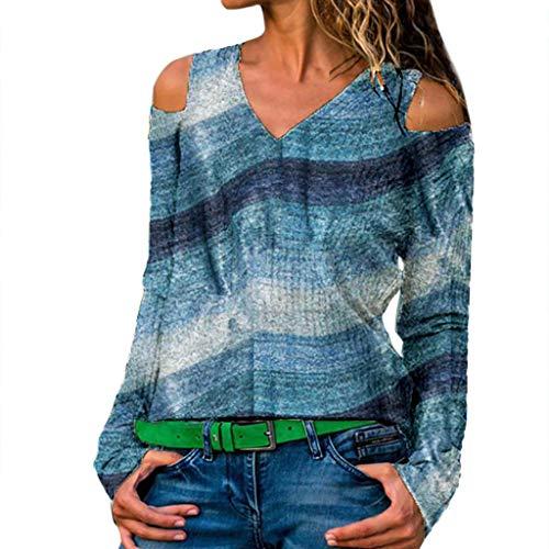IZHH Damen Plus Size Shirt , Langarm-Print V-Ausschnitt TräGerloser Pullover Tops Shirt Schulterfrei Top(Blau,Medium)