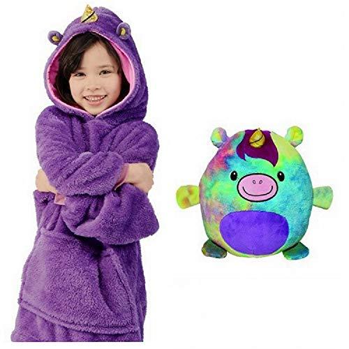 Pijamas cálidos caseros con Capucha, Animales de Peluche con Bolsillos extragrandes Pijamas con Sombrero súper Dalian, Talla única para Todos (púrpura)