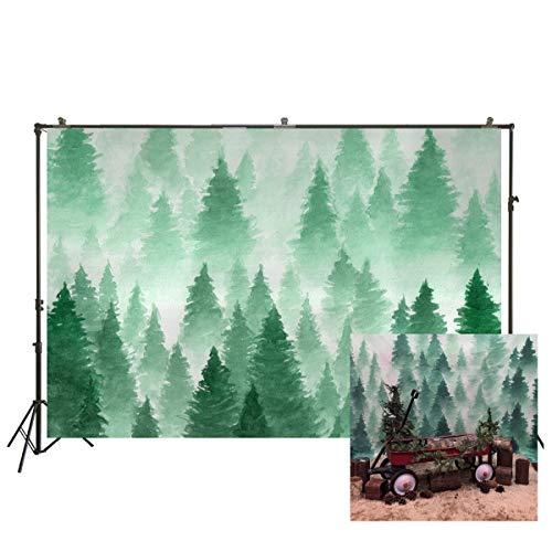 NIVIUS PHOTO Fondo de Navidad para fotografía, Acuarela, árboles de Pino Verde, Fondo para fotografía de recién Nacido, Accesorios de Estudio, decoración para habitación de bebé XT-5970
