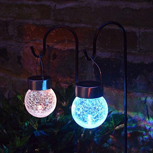 Solalite® 2-delige set zonne-aangedreven kogeltjes om op te hangen aan haak, met kleurwisseling, LED-licht