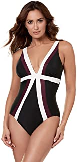 Miraclesuit Women's Swimwear Spectra Trilogy Striped V-Neckline Tummy Control One Piece Swimsuit