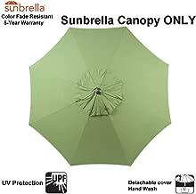 Patio Umbrella Replacement Canopy ONLY for 9 Feet 8 Ribs Outdoor Garden Umbrella Non Faded Sunbrella Canvas Turf (Sunbrella Canopy Only, Turf (Green))