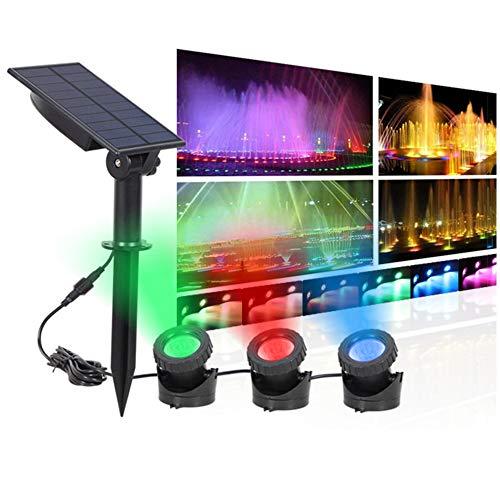 XUNATA Solar LED Unterwasser Spotlight RGB-Farbwechsel Wasserdicht Teichlichter Aquarium Beleuchtung Solarlampe Unterwasserstrahler für...