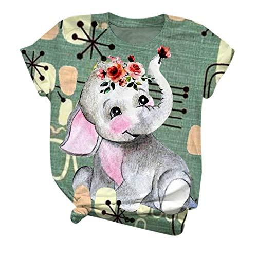 Tops T-Shirt Frauen Kurzarm Ärmel mit Tierdruck O-Ausschnitt Plus Size Bluse (XXL,2Grün)