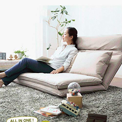 ZZSF Wohnzimmer Futon Stuhl Faul Schlafsofa Möbel Japanischen Boden Legless Moderne Mode Freizeit Stoff Liegenden Futon Klappsofa Stuhl Bett Beige