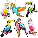 HOWAF 6 Stück Tropische Vogeldekoration Hawaii Sommer Tropical Party Dekorationen Luau Party Seidenpapier Hängende Dekorationen (Papagei)