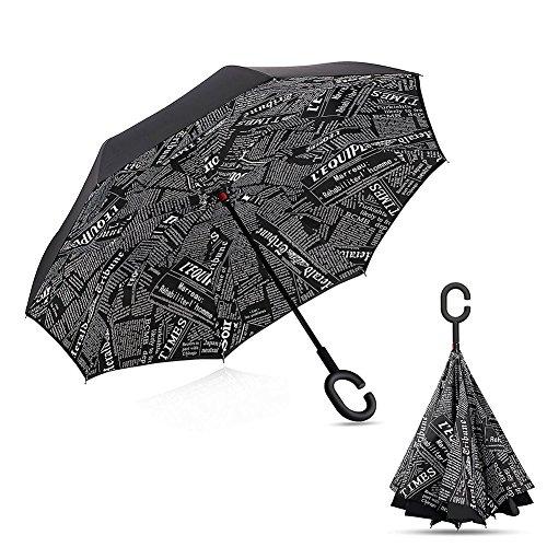 Feichen Gedreht Reverse-Regenschirm, Windundurchlässig Außen Folding Double Layer umgekehrt , Selbst Standing Inside-Out, C-förmig Frei-Hand-Griff Lang Inverted Regenschirme (Zeitung)