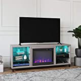 """Ameriwood Home Lumina Fireplace TV Stand for TVs up to 70"""" (Light Walnut)"""