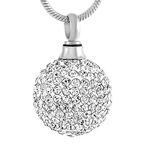 Collar de urna Muti-función Hermoso collar de bola de cristal para mujer Joyas de cremación de cristal blanco transparente para cenizas de dama