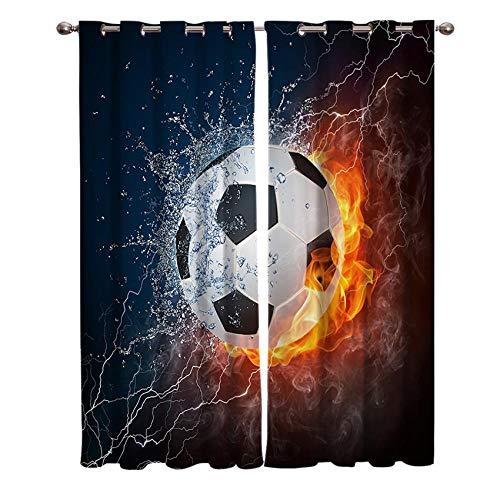 Wärmeisolierender Verdunkelungsvorhang Blauer Roter Fußball Blickdichte Vorhänge Ösen Gardinen 2x75x166 cm für Wohn- und Kinderzimmer, 2 Stück
