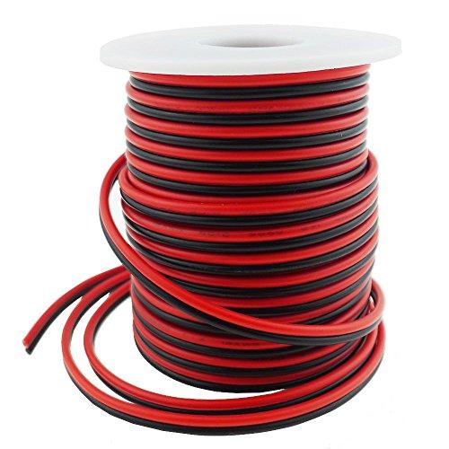 LTRGBW 40FT 18 Gauge Simple Bande de LED Couleur Extension Cable 18AWG 2pin 2 Couleur Rouge Noir Support de Fil conducteur pour Lampe LED Ruban Ruban Lighting