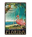 Retro City Florida Golfo De México Shabby Chic Carteles De Chapa Lienzo Cartel Bar De Pared Restaurante Arte del Hogar Decoración Artesanal 50X70Cm (Jn1642)