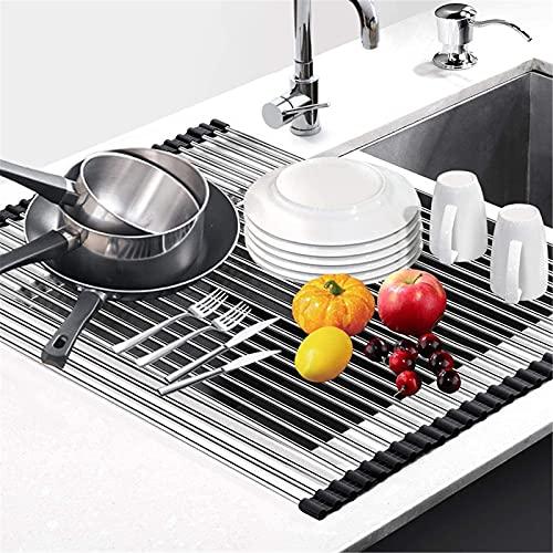 Estante enrollable para secar platos para cocina, de acero inoxidable, multiusos, plegable, resistente al calor y fácil de almacenar 47 x 31 cm, color negro
