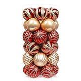 SHareconn 34 Piezas Bolas de Navidad, Adornos Navideños para Arbol, Decoración de Bolas de Navidad Inastillable Plástico para la decoración de Fiesta de la Boda, 4cm 34 Piezas/Caja (Rojo)