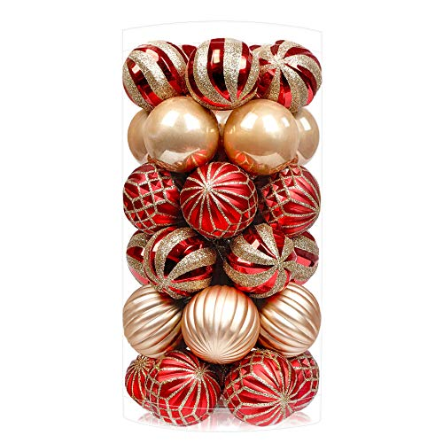 SHareconn 30ct 2.36 Inch Christmas Balls Ornaments, Shatterproof Balls Ornaments for Christmas Tree, Colored Decoration Baubles for Holiday Party, Tree Ornaments Hooks Included (Red & Gold, 60mm)