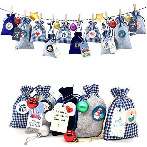 Adventskalender Stoffsäckchen zum Befüllen, Weihnachtskalender Filzsäckchen zum Selberfüllen, 24 Groß Geschenksäckchen Kette zum selber befüllbar und Aufhängen, Blau Grau Stoffbeutel für Kinder Männer