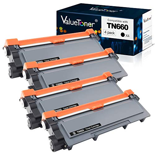 Valuetoner Compatible Toner Cartridge Replacement for Brother TN660 TN-660 TN630 High Yield to use with HL-L2300D HL-L2320D HL-L2340DW HL-L2360DW MFC-L2720DW MFC-L2740DW DCP-L2540DW (4 Pack)
