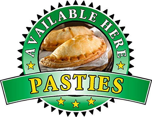 Pasties Sold Here Aufkleber – Sandwich Catering Schild Cafe Restaurant Vinyl Aufkleber, Large 400 x 520mm, grün