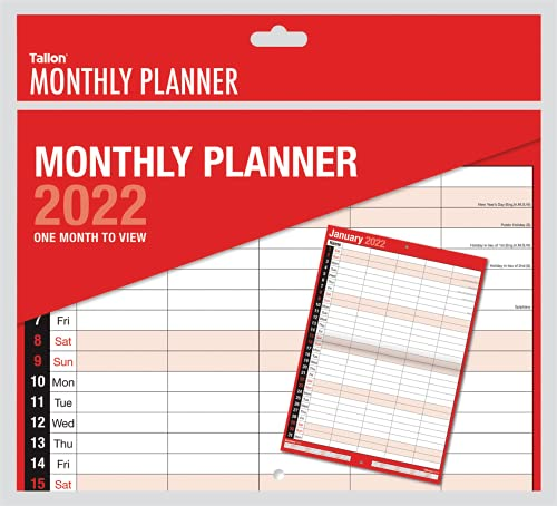 Tallon 2022 Large Month To View Wall Calendar 5 Column Monthly Planner