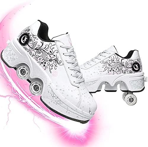 Eortzzpc Patines Patines en línea 2 en 1 Zapatos de múltiples propósitos Patines Roller Deformación Ajustable Patinaje de Rodillos de Doble Fila para Hombre y Hembra Adulto Regalo para Principiantes