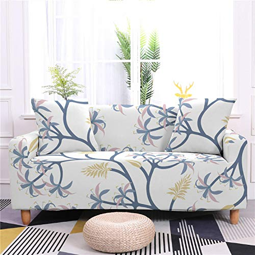 Stretch Sofa Couch Covers Elastic Fabric Minimalist Blue Branch Pattern All-Inclusive Loveseat Cover Anti-Slip Tight Wrap Settee Slipcover For Living Room Decor,4,seater 235,300cm