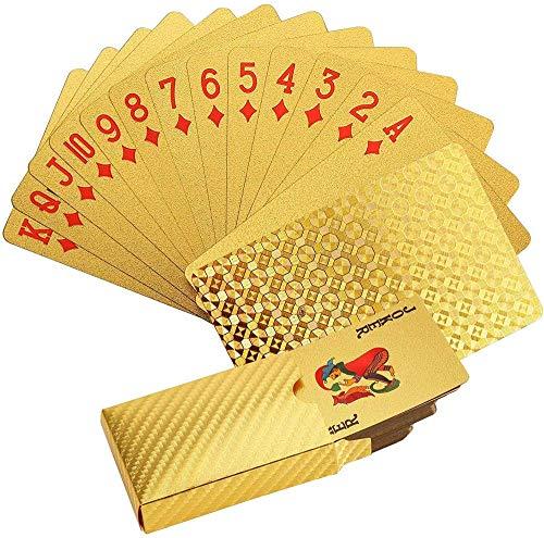 ZLYP 54 Spielkarten, 24 Karat Goldfolie, Spielkarte, Tischspiel, Kunststoff, wasserdichte Karte A+B+C