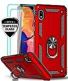 LeYi für Samsung Galaxy A10/Galaxy M10 Hülle mit Panzerglas Schutzfolie(2 Stück),360 Grad Ring Halter Handy Hüllen Cover Magnetische Bumper Schutzhülle für Hülle Samsung Galaxy A10 Handyhülle Rot