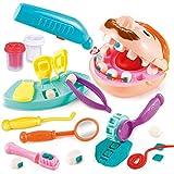 Dontdo 13 piezas simulación dentista kit extracción de dientes arcilla modelo juguetes dental herramienta set de rellenos dentales casa de juego plastilina pequeño dentista color arcilla