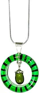Joyería para mujer - Dije de vidrio brillante Heineken con cadena de plata
