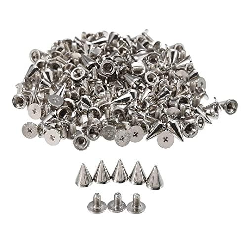 100 juegos de remaches punk, remaches de rosca de cono, picos de bola de metal y remaches para bolsos de cuero, ropa, zapatos, cinturones, bricolaje (plata)