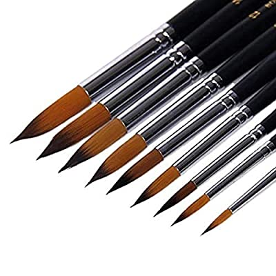 Pearly Blue Nylon Art Paint Brush Set, 10 Different Sizes for Artists, Adults & Kids