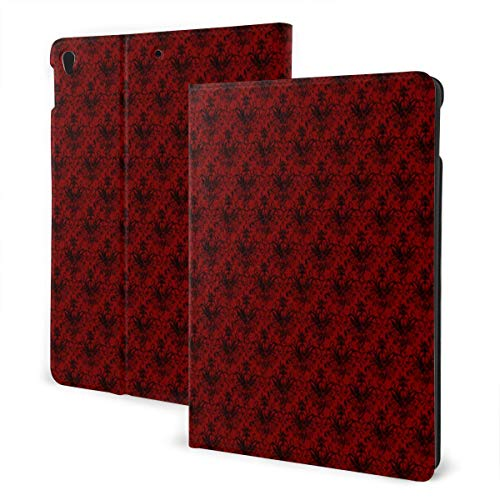 Raven Skull Damask Red and Black Case for iPad Air 3 (10.5-inch 2019) and iPad Pro (10.5-inch) PU Leather Protective Cover with Auto Sleep/Wake for iPad Tablet